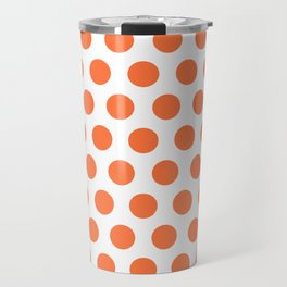 Orange and White Polka Dots 771 Travel Mug