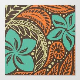 Circular Polynesian Blue Brown Orange Floral Tattoo Canvas Print