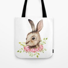 Easter bunny with flower wreath  Tote Bag