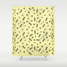 Retro Eighties Inspired Repated Pattern Design Shower Curtain