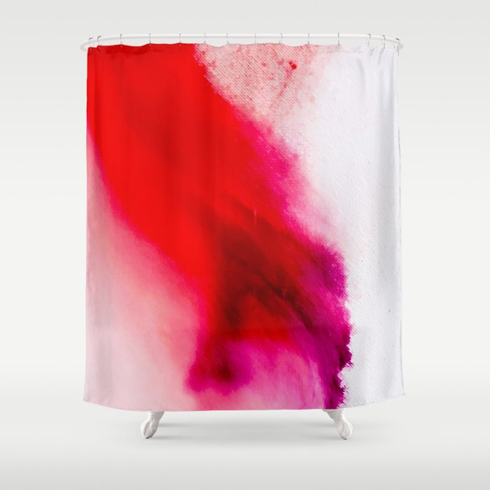 Slow Burn: simple abstract ink on paper in red, purple, and pink Shower Curtain