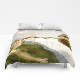 The Creation of Adam Painting by Michelangelo Sistine Chapel Comforters