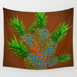 ABSTRACT COFFEE BROWN TROPICAL PINEAPPLES DESIGN Wall Tapestry