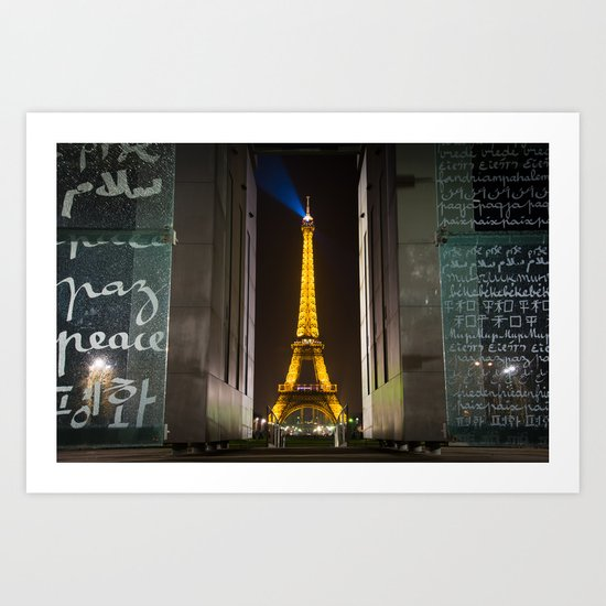 Peace Monument and Eiffel Tower Art Print