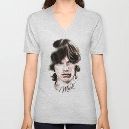Mick portrait pencil and digital color, Rolling Stones portrait Unisex V-Neck