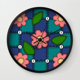 Retro Doodle Flower Style Quilt - Dark Blue and Green Wall Clock