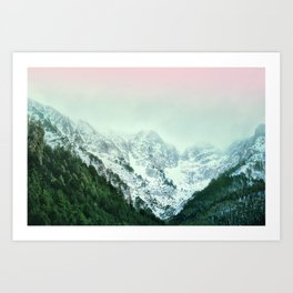Snowy Winter Mountain Landscape with Alpenglow Art Print