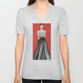 Portrait of a Model Woman Unisex V-Neck