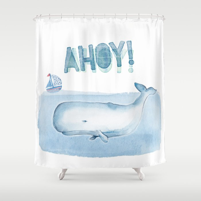 Ahoy From A Sperm Whale Shower Curtain