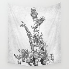 The Clockwork Menagerie (Silver) Wall Tapestry