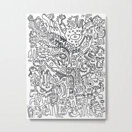 Black and White Graffiti Street Art Urban Creatures Metal Print