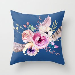Boho Bouquet on Blue Throw Pillow