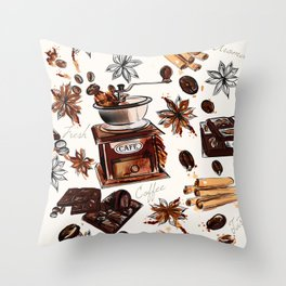 Coffee watercolor pattern with grains coffee mill and chocolate Throw Pillow