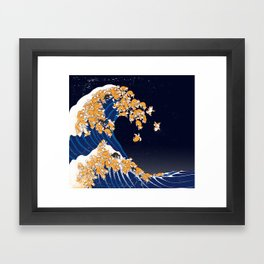 Shiba Inu The Great Wave in Night Framed Art Print