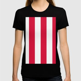 Wide Vertical Stripes - White and Crimson Red T-shirt