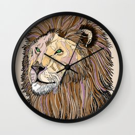 Abstract lion line drawing / coloured Wall Clock