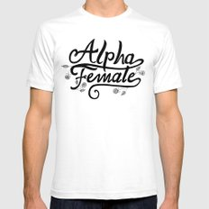 Alpha Female Roses White Mens Fitted Tee SMALL