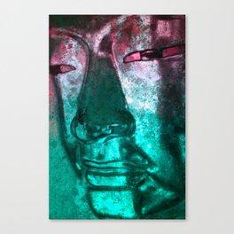 Buddha Face cyanred Canvas Print