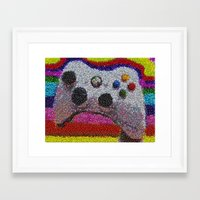 xbox Framed Art Prints featuring XBOX 360 Video Game Controller M&Ms Candy mosaic by Paul Van Scott