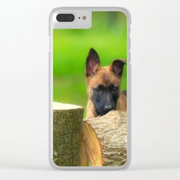 Cute Malinois Dog after the wood Clear iPhone Case