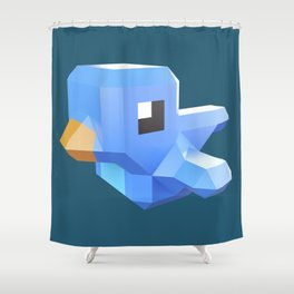 Cute low-poly Twitter bird character Shower Curtain