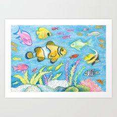 Crayon Fish #3 Art Print