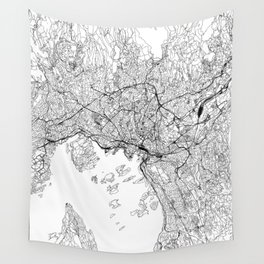Oslo White Map Wall Tapestry