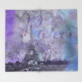 Purple Paris Watercolor Art Throw Blanket