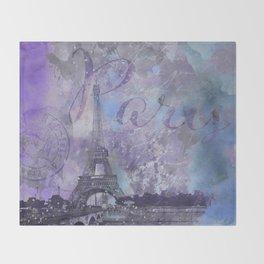 Purple Paris Watercolor Art Throw Blanket