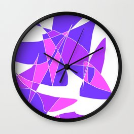 Windy Peaks - Abstract Purples on White Wall Clock