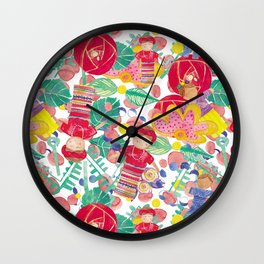 Colorful Worry Dolls Wall Clock