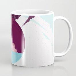 Enceladus Retro Space Travel Poster muted mauve Coffee Mug