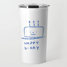 happy birthday b-day cake simple blue line congrats Travel Mug