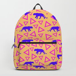 Wild African walking purple lion silhouettes and abstract triangle shapes. Stylish classy warm sunny pastel peach orange retro vintage geometric animal nature pattern. Backpack