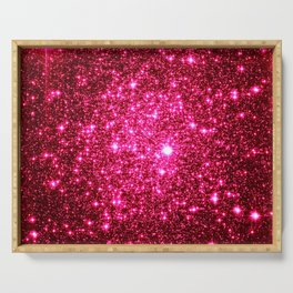 Hot Pink Glitter Galaxy Stars Serving Tray