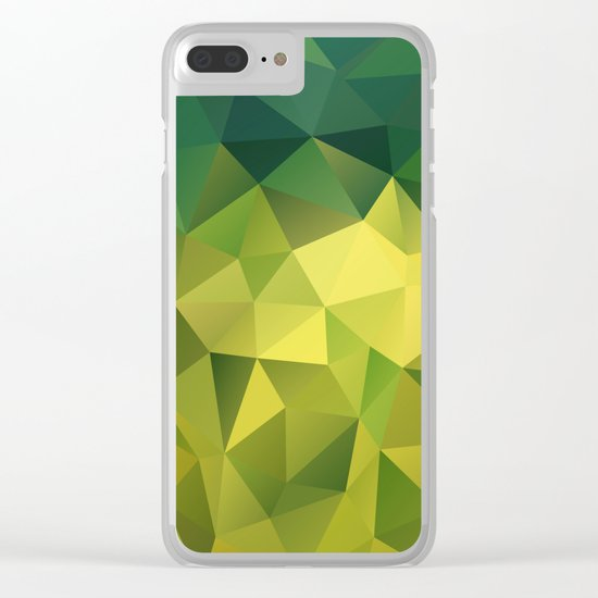 Abstract of triangles polygon in green yellow lime colors Clear iPhone Case