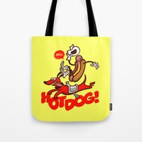 hot dog Tote Bags featuring Hot Dog! by Gimetzco's Damaged Goods