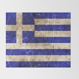 Vintage Aged and Scratched Greek Flag Throw Blanket