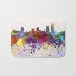 Little Rock skyline in watercolor background Bath Mat