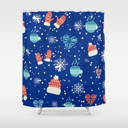 Winter Pattern Mittens Mugs Hearts Snow Flakes Shower Curtain
