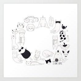 cute cat doodles circle #2 Art Print