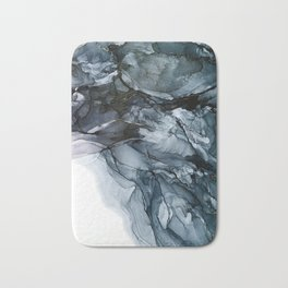 Dark Payne's Grey Flowing Abstract Painting Bath Mat