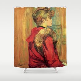 "Henri de Toulouse-Lautrec ""Girl in a Fur (Miss Jeanne Fountain)"" Shower Curtain"