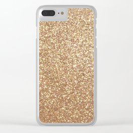 Copper Rose Gold Metallic Glitter Clear iPhone Case