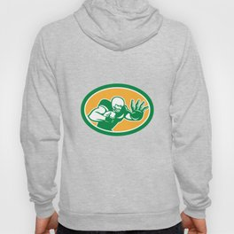 American Football Player Fend Off Oval Retro Hoody