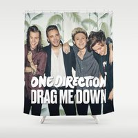 1d Shower Curtains featuring 1D Drag me down by kikabarros