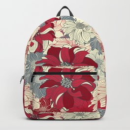 Dahlia pattern in cherry-red and grey Backpack