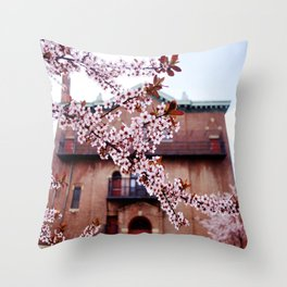 Cherry Blossoms and Chapels Throw Pillow