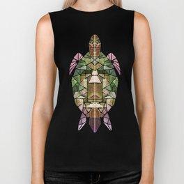 green mosaic turtle Biker Tank