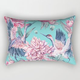 Watercolor crane and blooming peonies Rectangular Pillow